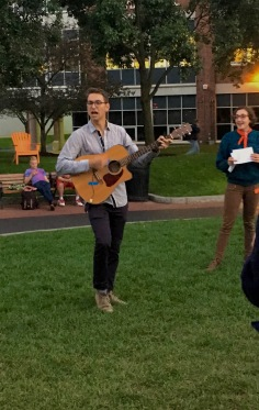 The rallies feature a lot of rhetoric via megaphone, as to be expected, but also song and chants. Here Nick Boyd, a member of Real Food Challenge NU, leads the group in a tune written just for the cause.