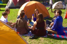 "Students from the organization began a protest ""camp-in"" on the quad in hopes of garnering a response from the Northeastern administration, and refuse to leave until that happens. Here they engage in meditation with members of the NU Buddhism club."